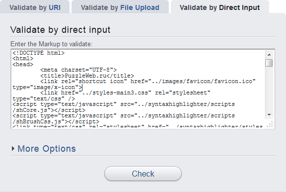 валидация html-кода скопированного в форму валидатора
